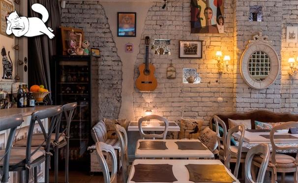 Скидка на Все меню кухни и напитки + проведение банкетов в кафе «Кот Бегемот» на Патриарших прудах. Скидка до 50%