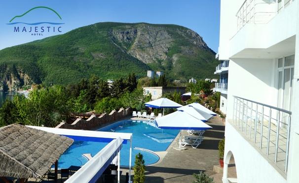 Скидка на От 3 дней отдыха для двоих в отеле Majestic в Крыму: 3-разовое питание, массаж, пользование spa-зоной, романтический ужин, бассейн и не только. Скидка до 59%