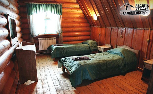 Загородный отдых в лесных угодьях «Сафари Паркъ»: уютные номера и дома, питание, тренажерный зал, тир, прокат коньков и лыж и многое другое! Скидка до 64%