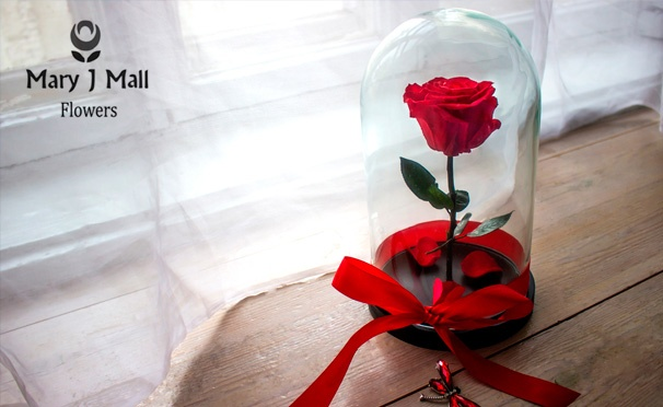 Скидка на Скидка 58% на неувядающую розу в колбе с гравировкой и открыткой в эксклюзивной упаковке от компании Mary J Mall Flowers